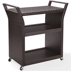 Crosley Palm Harbor Outdoor Wicker Bar Cart in Brown