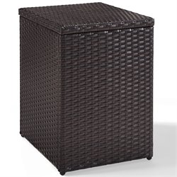 Crosley Palm Harbor Outdoor Wicker Rectangular End Table in Brown
