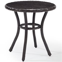 Crosley Palm Harbor Outdoor Wicker Round End Table in Brown