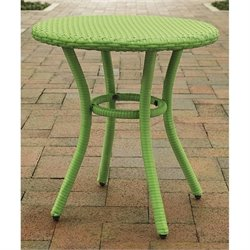 Crosley Palm Harbor Outdoor Wicker Round End Table in Green