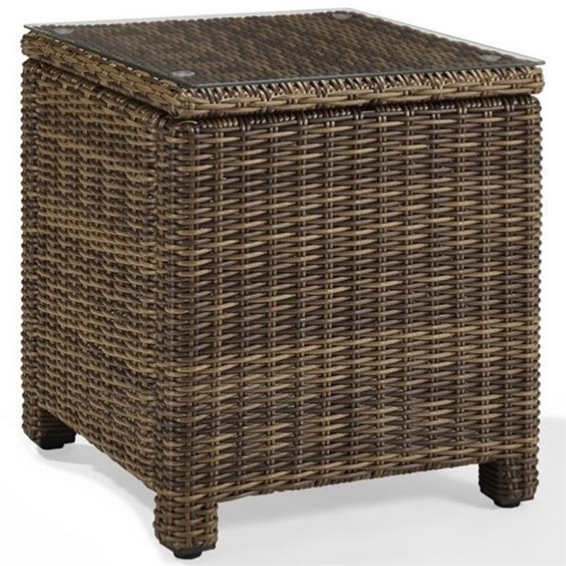 Crosley bradenton outdoor wicker rectangular end table for Outdoor furniture end tables