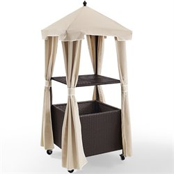 Crosley Palm Harbor Outdoor Wicker Towel Valet with Cover in Cream
