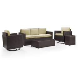 Crosley Palm Harbor 5 Piece Outdoor Wicker Sofa Set