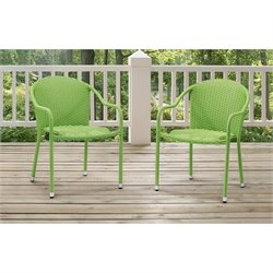 Crosley Palm Harbor 3 Piece Outdoor Wicker Chair Set in Green