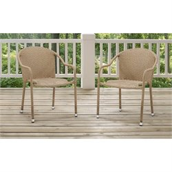 Crosley Palm Harbor 3 Piece Outdoor Wicker Chair Set in Beige