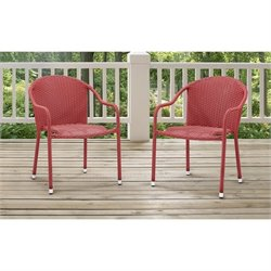 Crosley Palm Harbor 3 Piece Outdoor Wicker Chair Set in Red