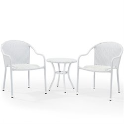 Crosley Palm Harbor 3 Piece Outdoor Wicker Chair Set in White
