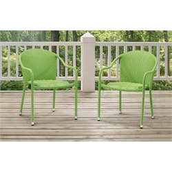 Crosley Palm Harbor Outdoor Wicker Chairs in Green (Set of 2)
