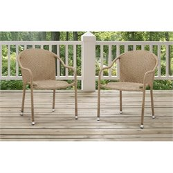 Crosley Palm Harbor Outdoor Wicker Chairs in Light Brown (Set of 2)