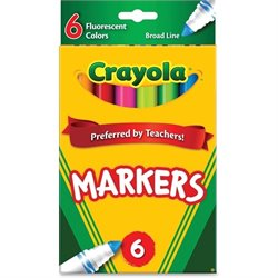 Crayola Classic Broad Line Fluorescent Markers (Set of 6)