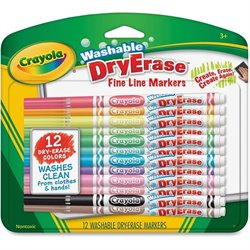Crayola Fine Line Washable Dry Erase Markers (Set of 12)