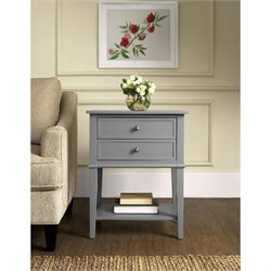 2 Drawer Accent Table in Gray