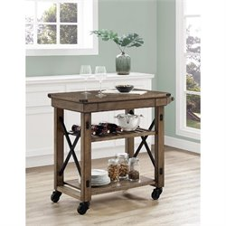 Wood Veneer Rolling Cart in Rustic Gray