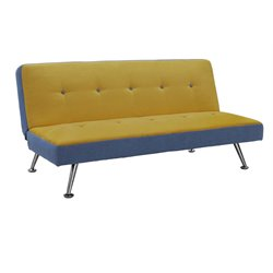 DHP Junior Microfiber Convertible Sofa in Denim and Minion Yellow