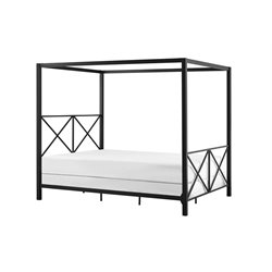 Rosedale Modern Romance Metal Queen Canopy Bed in Black