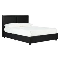 Bridgeport Faux Leather Upholstered Twin Platform Bed in Black