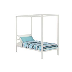 Modern Metal Twin Canopy Bed in White