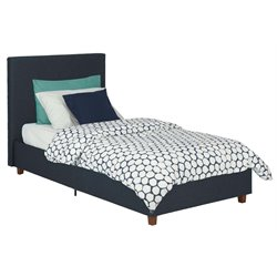 DHP Alexander Linen Upholstered High Back Twin Bed in Navy Blue