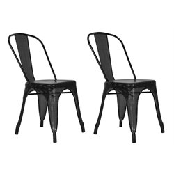 DHP Nova Metal Mesh Dining Chair in Black (Set of 2)