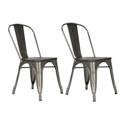 Metal Dining Chair with Wooden Seat in Gun Metal (Set of 2)