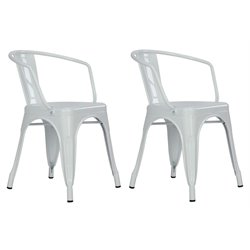 DHP Elise Tabouret Metal Dining Chair in White (Set of 2)