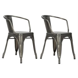 Elise Tabouret Metal Dining Chair in Antique Gun Metal (Set of 2)