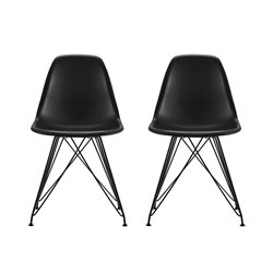 DHP Eames Replica Mid Century Modern Dining Chair in Black (Set of 2)