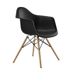 Modern Molded Dining Arm Chair in Black