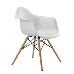 DHP Mid Century Modern Molded Dining Arm Chair in White