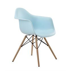 DHP Mid Century Modern Molded Dining Arm Chair in Blue (Set of 2)