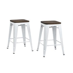 Metal Backless Counter Stool Wood Seat (Set of 2) 24