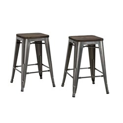 DHP Fusion Metal Backless Counter Stool, Wood Seat (Set of 2)
