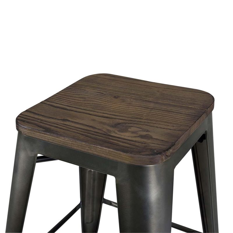 Fusion 24 Quot Industrial Metal Counter Stool In Antique
