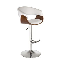 DHP Adelaide Adjustable Faux Leather Bar Stool in White and Walnut