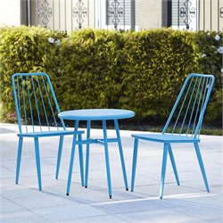 Cosco Outdoor Cottage 3 Piece Metal Patio Bistro Set in Blue