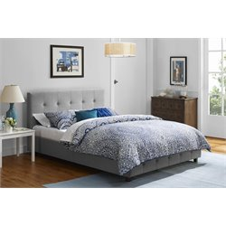 DHP Rose Linen Upholstered Full Platform Bed in Gray