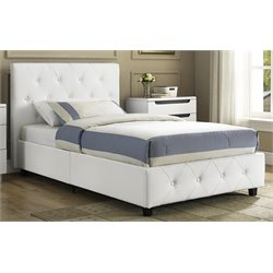 DHP Dakota Upholstered Faux Leather Twin Bed in White