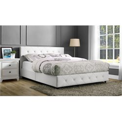 Dakota Upholstered Faux Leather Queen Bed in White
