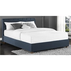 DHP Carmela Upholstered Linen Queen Bed in Navy