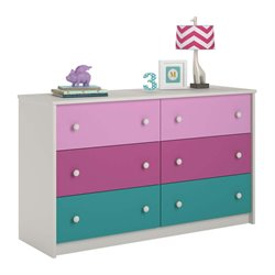 Ameriwood Cosco Kaleidoscope 6 Drawer Kids Dresser in Whimsy