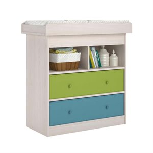 Changing Table with 2 Fabric Bins