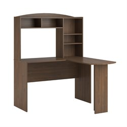 L Desk with Hutch in Saint Walnut
