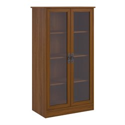 Ameriwood 4-Shelf Glass Door Barrister Bookcase in Inspire Cherry