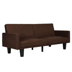 Split Microfiber Convertible Sofa in Brown