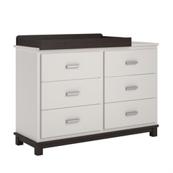 6 Drawer Dresser with Changing Table in White