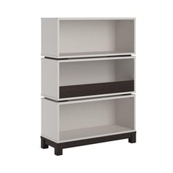 Ameriwood Cosco Leni Storage Bookcase in White and Coffee House Plank