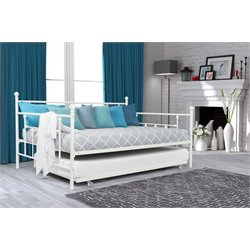 DHP Manila Full Size Metal Daybed with Twin Size Trundle in White
