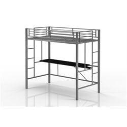 Twin Loft Bed with Desk in Silver
