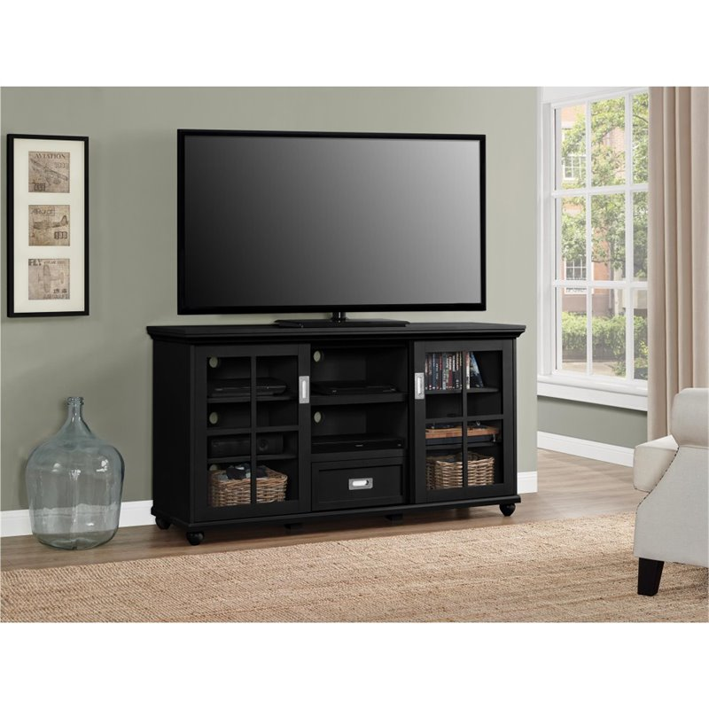 55 39 39 tv stand in black 1782096pcom - Dresser as tv stand in living room ...