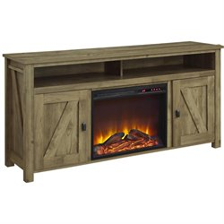 60'' Fireplace TV Stand in Light Pine